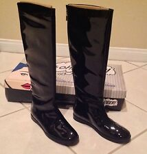 BRAND NEW OH  DEER! BLACK KNEE HIGH ICE PRINCESS PATENT LEATHER BOOTS  6.5 M