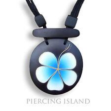 Hibiscus Blüte Blau Halskette Anhänger Holz Amulett Handarbeit N079