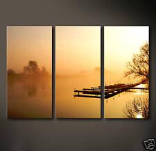 BOOTSSTEG Leinwand Bilder Bild Stille Boot Segeln Impression Nebel Deko