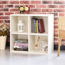 Eco 4 Cubby Bookcase, Stackable Organizer and Storage Shelf, White