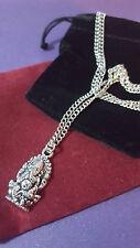 Ganesh Elephant God On Silver Style Necklace Chain - Hindu Indian God Peace.