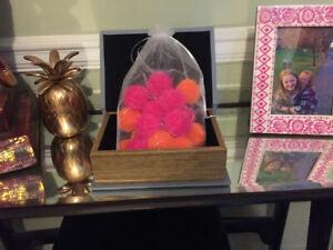20 LED  battery operated Hot Pink & Orange Pom-Pom Fairy Lights