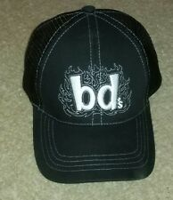 BD's Mongolian Grill mesh trucker baseball cap hat BLACK STICHED LOGO employee