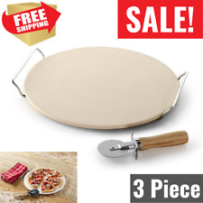 Professional Nordic Ware Tan Pizza Baking Stone Set 3 Piece for Grill Oven Bbq