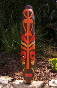 "Tribal Maori Tiki Wood Mask Patio Tropical Bar Wall Art 39"""