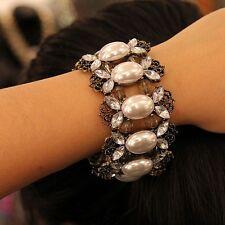 Bracelet Femme Elastique Perle Cristal Vintage Original Soirée Mariage CT4