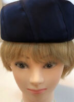 Rare Vintage Joseph Magnin Navy Satin Pill Box Hat - Circa 1940's