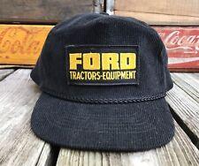 Vintage FORD TRACTORS EQUIPMENT Black Corduroy Snapback Trucker Hat