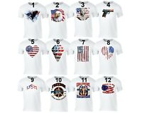Men's American Flag Distressed 4th of July T-shirt Clothing USA Pride White