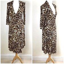 M&S Giraffe Print Wrap Midi Dress Size - 10