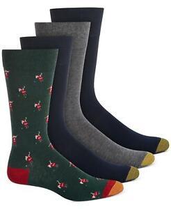 Goldtoe Vapor Tech Men's 4-Pack Crew Dress Socks- Santa Golfing, Blue/Gray Solid