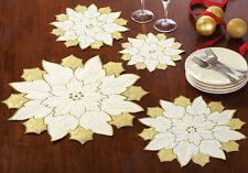 Gold & White Table Doilies Set of 4 Table Decor Holiday Christmas