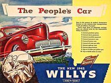 1942 Willy'S CAR, Retrò alluminio metallo segno GARAGE AUTO D'EPOCA UOMO Grotta Capanno 450