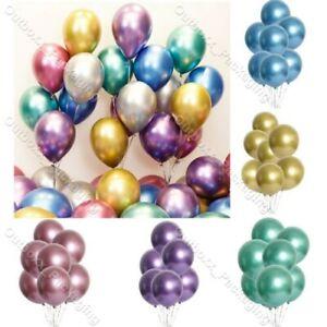 "5"" 10"" 100 CHROME BALLOONS METALLIC LATEX PEARL Helium Baloons Birthday Party UK"