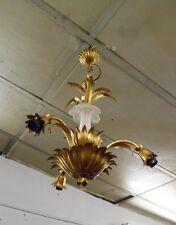 Beau lustre doré en fer 1970