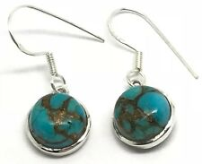 Mohave turquoise round solid Sterling Silver drop earrings. New, actual ones.