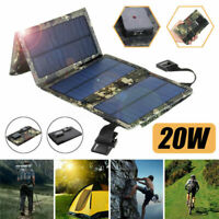 20W USB Solar Panel Folding Power Bank Outdoor Camping Charger Battery D5C7
