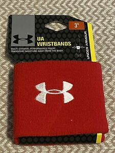 """Under Armour UA Performance 3"""" Unisex Wristbands Sweatbands All Sport 2-Pack-RED"""