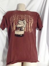 Superfishal Brown Graphic Art TEE  Men's M T-Shirt Odd Badger w/ fishing hole