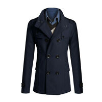 Men's Stylish Double Breasted Warmer Winter Long Trench Coat Overcoat Jacket#