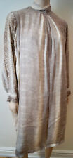CHLOE Cream & Grey Snake Print High Neckline Pleated Long Sleeve Dress Sz:M