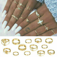 13pcs Opal Midi Finger Ring Set Vintage Boho Gold Moon Star Knuckle Ring Jewelry