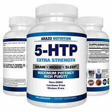 5-HTP 200 mg Supplement 120 Caps Amino Acids Serotonin Arazo Nutrition Non-GMO