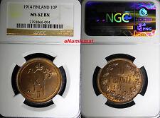 Finland Russia Nicholas II Copper 1914 10 Pennia NGC MS62 BN Mintage-605,0 KM#14