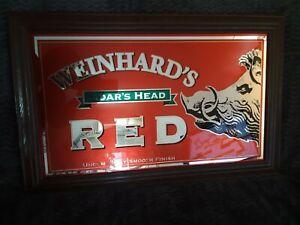 "Vintage Weinhard's Blue Boar Red Lager Beer Mirror Sign Handing Man Cave 32""X20"""