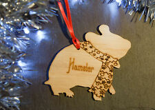 Hamster Personalised Wooden Christmas Tree Decoration, Hanging Dec