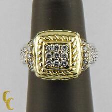 Judith Ripka 18ct Oro Amarillo & Plata Diamante Placa Anillo Talla 5.75