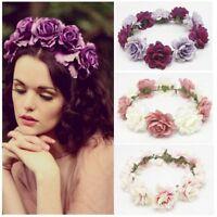 Women's Beach Flower Garland Crown Headband Floral Wreath Wedding Hairband