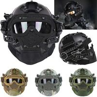 Airsoft Paintball Tactical Fast Helmet Goggles & G4 System Games Full Face