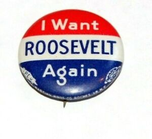1940 Franklin Roosevelt FDR campaign pin pinback button political presidential