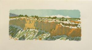 """The Gorge Rim with Mt Blanca"" woodblock by Leon Loughridge, Print Over-Run"