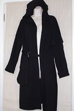Annette Görtz Black Merino Wool Belted Long Hooded Sweater Heavy Cardigan Size:L