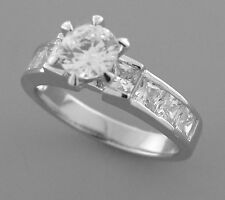 Round And Princess Cut Size 8 New Sterling Silver Cz Engagement Ring