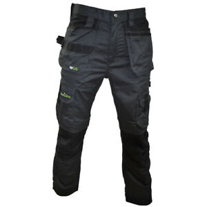 WORKGEARUK WORK TROUSER 3D STRETCH WITH HOLSTER POCKET GREY BLACK WG-TR01