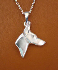 Small Sterling Silver Doberman Pincher Head Study Pendant