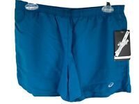 "Asics Women's Running Shorts Medium 3.5"" Blue Teal Ultra Light Weight Pocket"