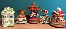 5 Christmas Wind Up Music Boxes House, Snow Globe, Carousel, Snowman Santa Elves