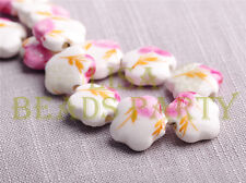 10pcs 15mm Flower Porcelain Ceramic Loose Spacer Beads Findings Pink Rose