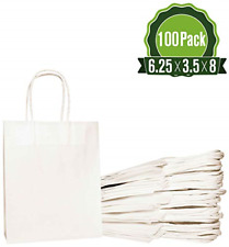 White Kraft Paper Gift Bags Bulk With Handles Ideal For Shopping Packaging New