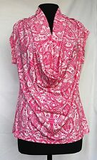 New York & Company L Bright Pink & White Paisley Print Giant Cowl Cap Sleeve Top