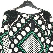 M&S Marks s24 Ladies Black Spotted Print High Neck Flute Sleeve Blouse Top BNWT