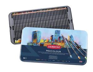 Derwent Procolour Professional Quality Artist Pencil Tin Set of 36 Colours