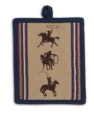 Western Potholder | Cotton | Cowboy Roper Horse | Tan Navy Blue Beige Red Brown