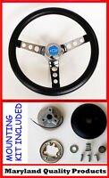 "1964-1965 Chevelle El Camino Chevy Pick Up Black & Chrome Steering Wheel 14 1/2"""