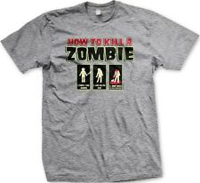 How To Kill A Zombie Intructions - Funny Zombies Horror Slogans Men's T-shirt