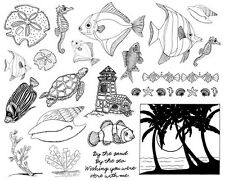 Unmounted Rubber Stamps Sheets, Nautical, Fish, Sea Shells, Beach, Lighthouse